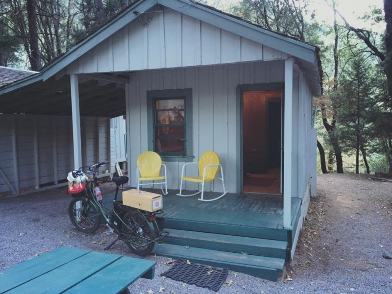 electric bike and cabin by a stream in Dunsmuir, california
