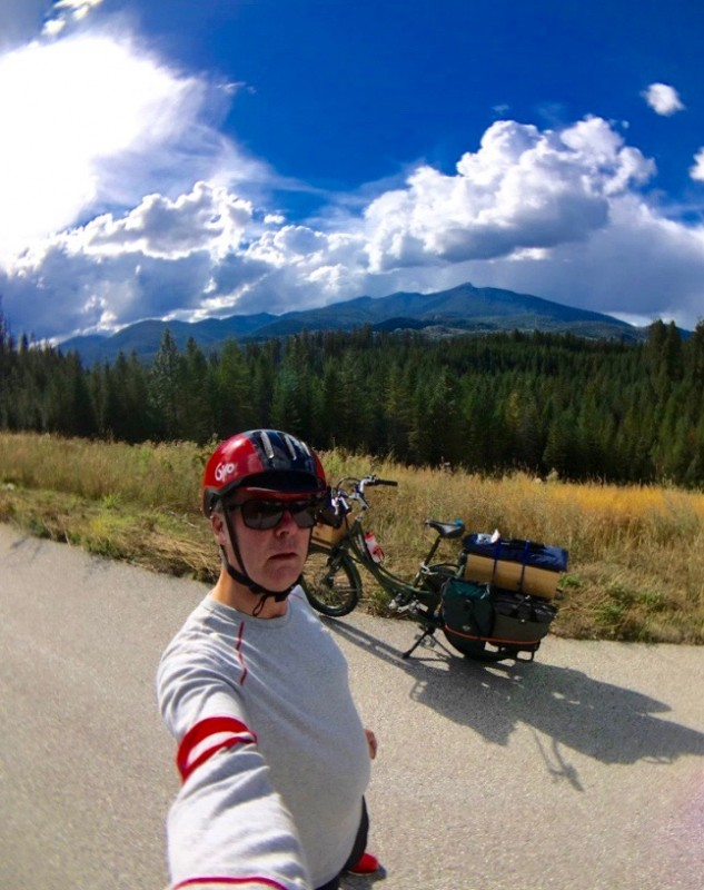selfie of man riding pedego electric bicycle in northern washington state