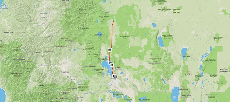 Map of route from Chemult to Klamath Falls, OR