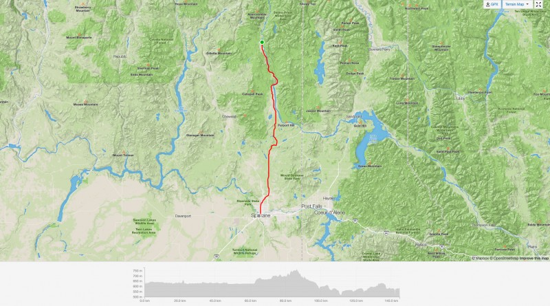 Strava map of electric bicycle journey from from Ione, WA to Spokane