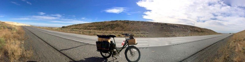 pedego electric cargo bike on highway in oregon