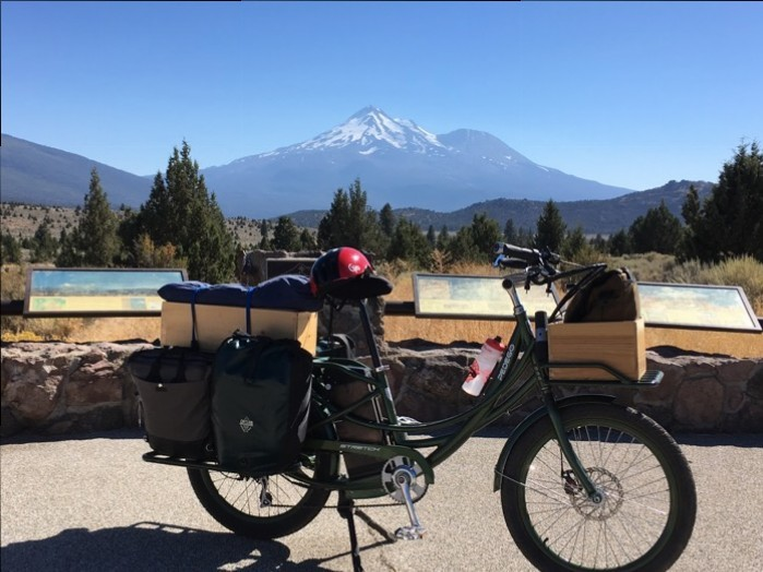 electric bicycle near volcano