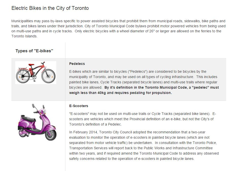 This image shows the classification difference in Toronto between scooters and electric bikes Canada