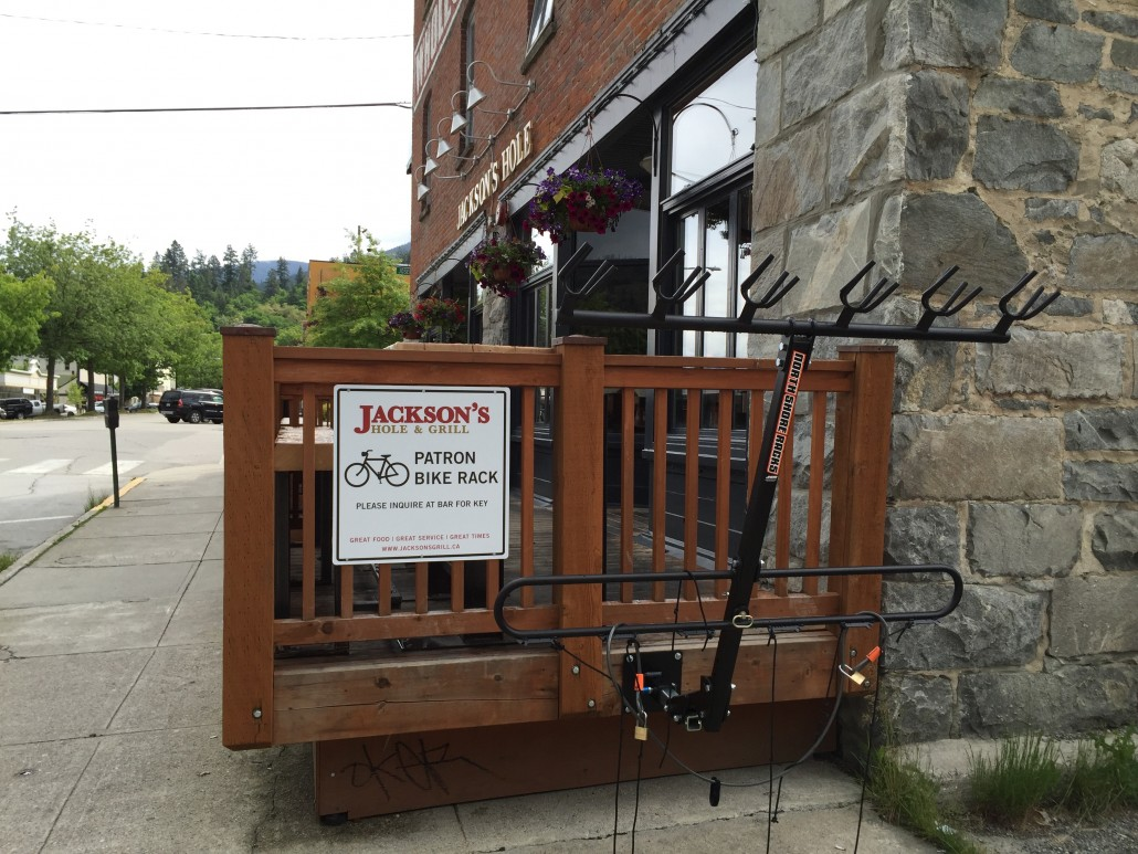 An ingenious bike rack installed at a local watering hole near Pedego Canada's main office.