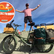man with pedego electric cargo bike