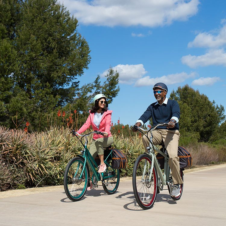 Riding e-bikes on a bicycle path