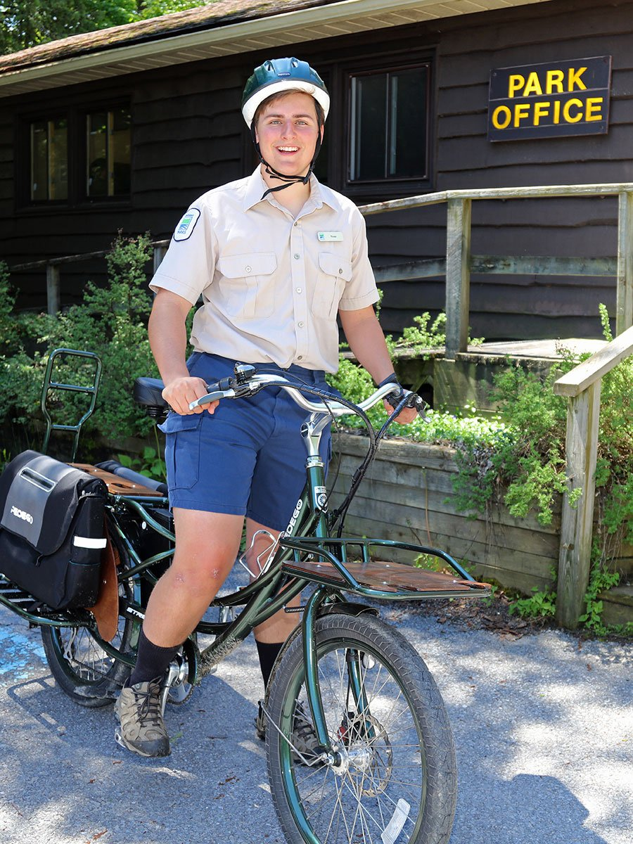 Sandbanks Provincial Park Discovery Guide Fraser Moodey takes a spin on the Stretch Electric Cargo Bike